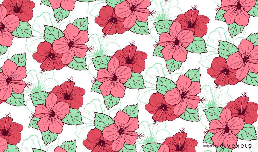 Design Floral Padrão De Hibisco