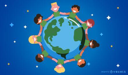 Niños alrededor del mundo ilustración