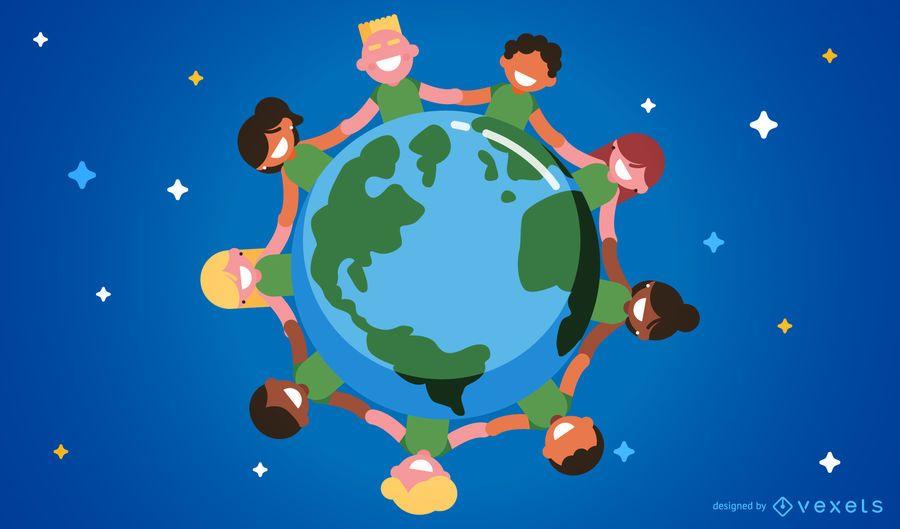 Ilustración de niños alrededor del mundo