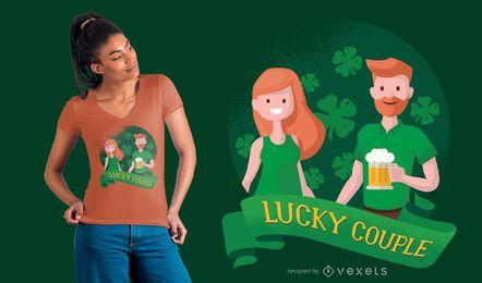 Diseño de camiseta de pareja afortunada