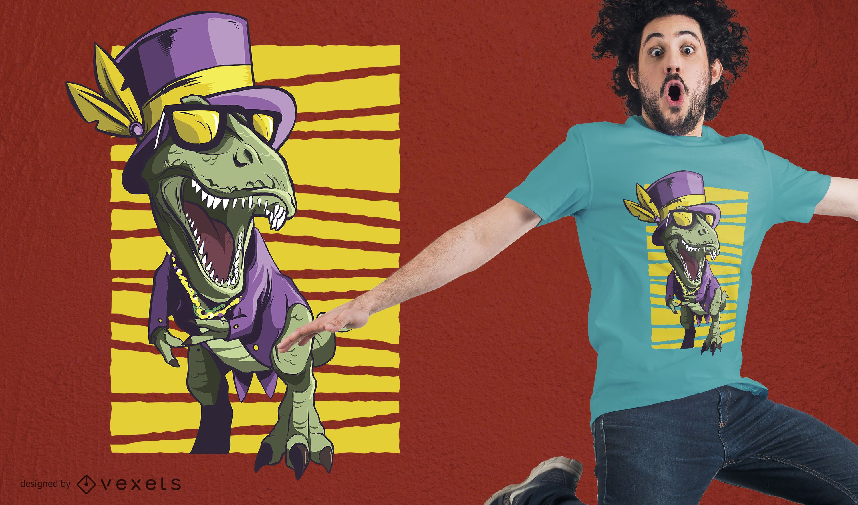 Diseño de camiseta de dinosaurio de Mardi Gras