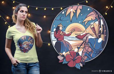 Diseño de camiseta de invierno en Hawai