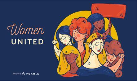Ilustración de mujeres unidas