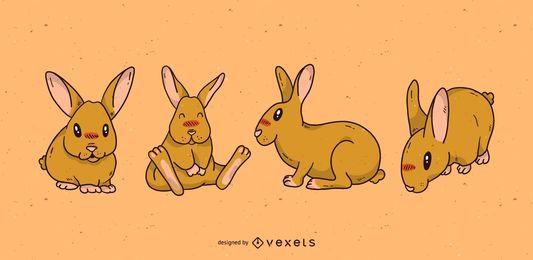 Conjunto de desenhos animados de coelho fofo