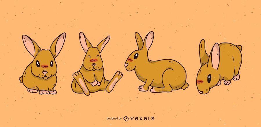Conjunto de dibujos animados lindo conejo