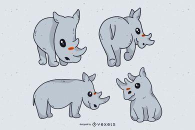 Conjunto de dibujos animados lindo rinoceronte