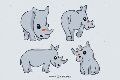 Cute rhino cartoon set