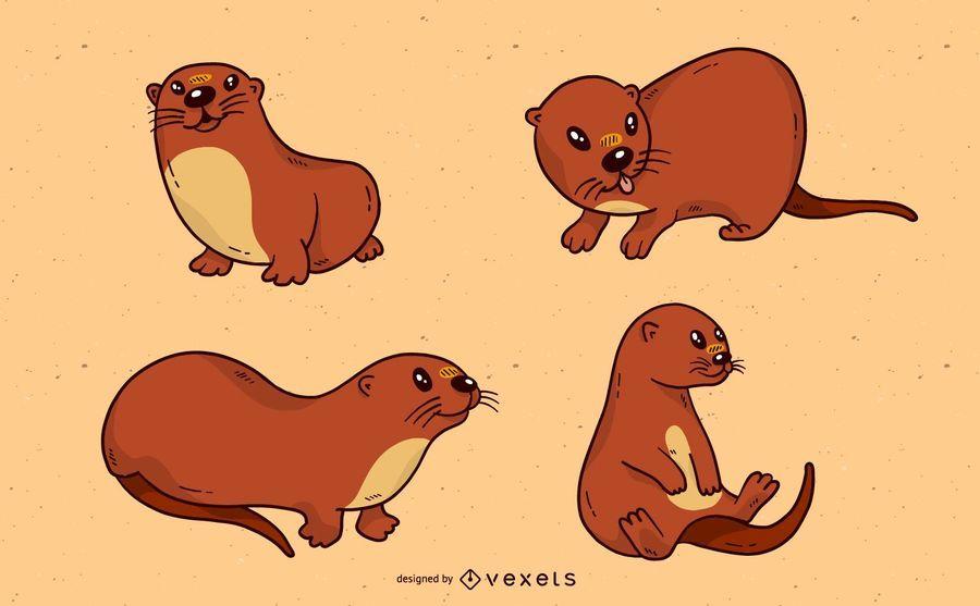Conjunto bonito dos desenhos animados de lontra de rio