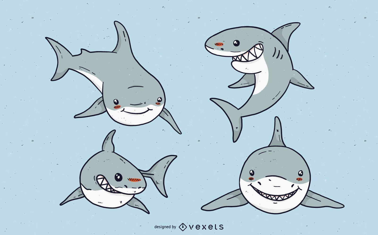 Cute white shark cartoon set