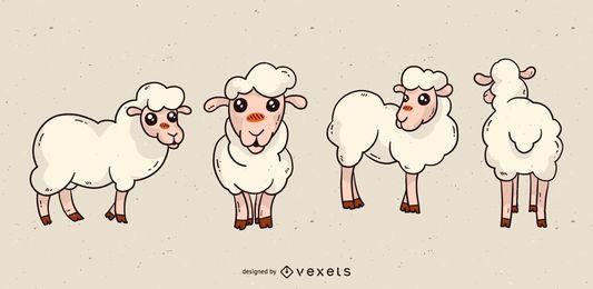 Conjunto de dibujos animados de ovejas lindo