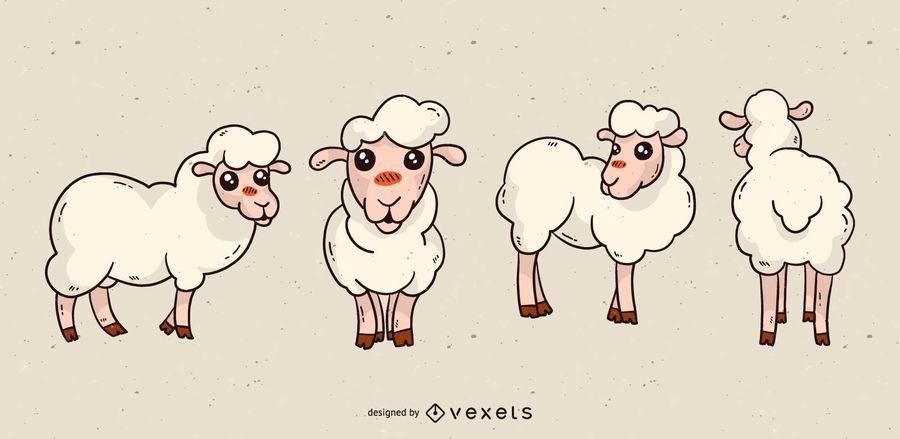 Cute sheep cartoon set