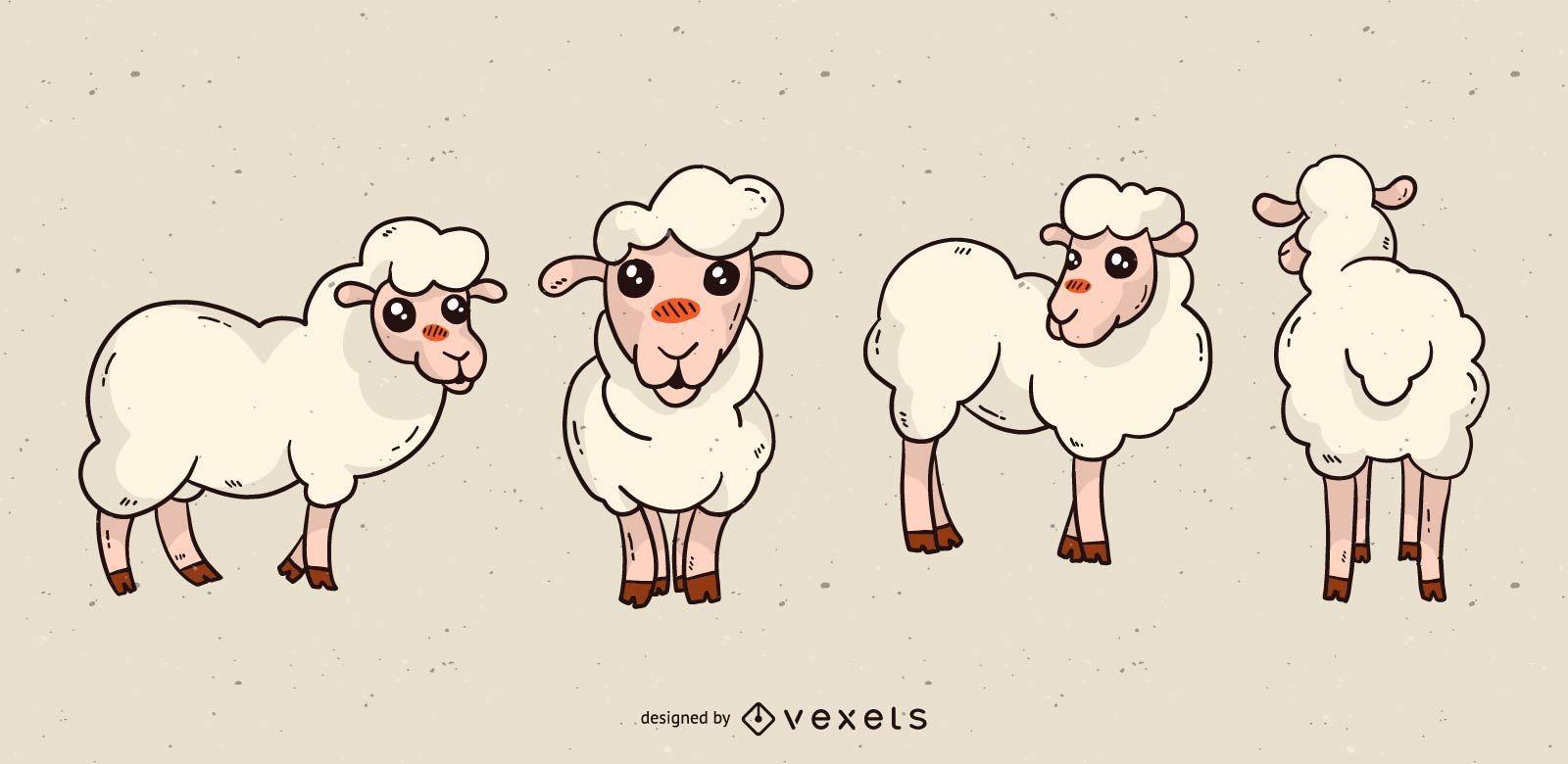 Lindo conjunto de dibujos animados de ovejas