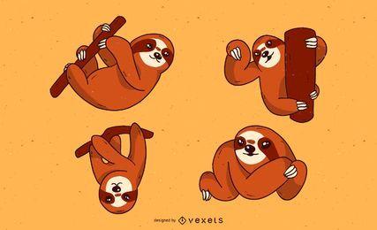 Conjunto de dibujos animados lindo perezoso