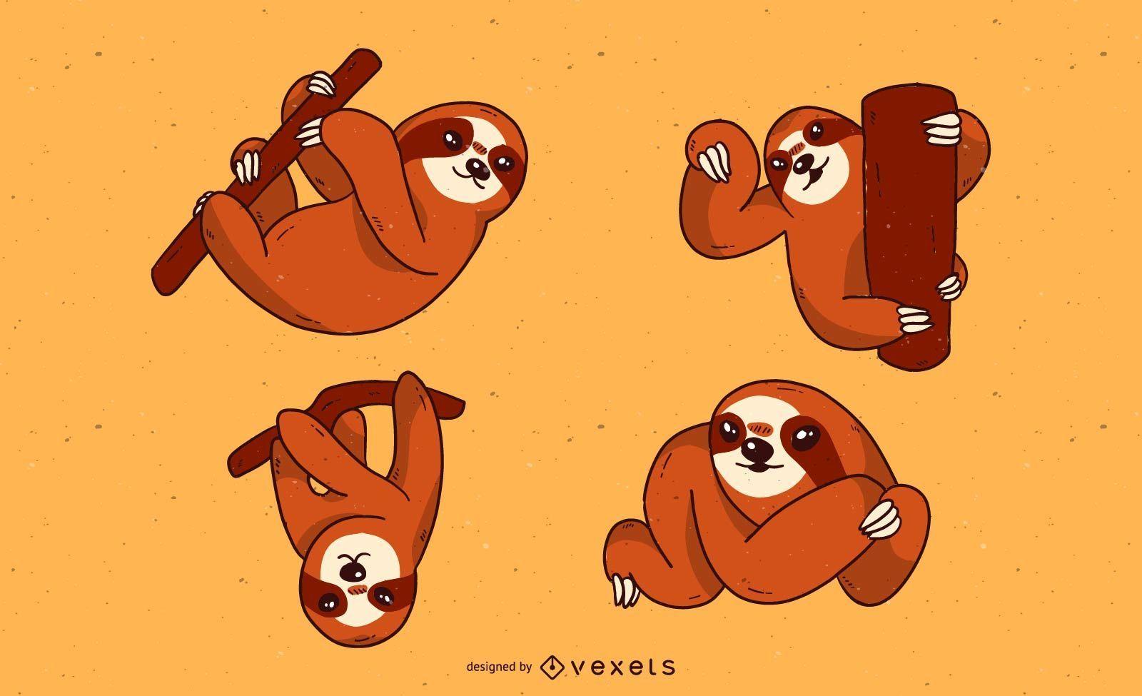 Conjunto de desenho animado de preguiça fofa