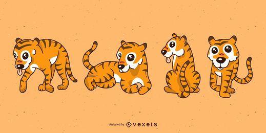 Conjunto de desenhos animados de tigre bonito