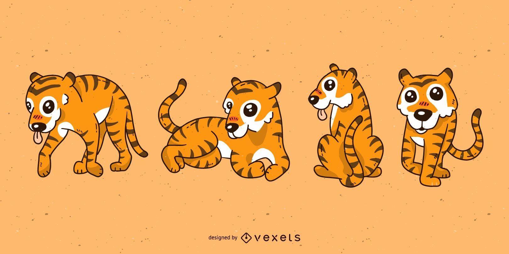 Conjunto de dibujos animados lindo tigre