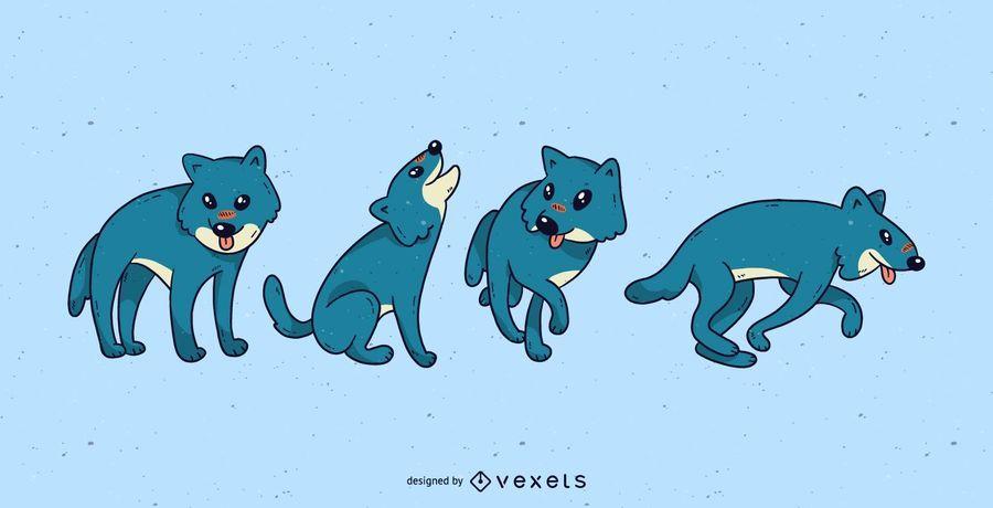 Cute wolf cartoon set