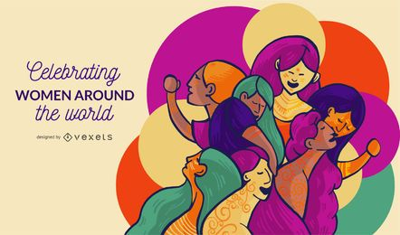 Mujeres alrededor del mundo ilustración