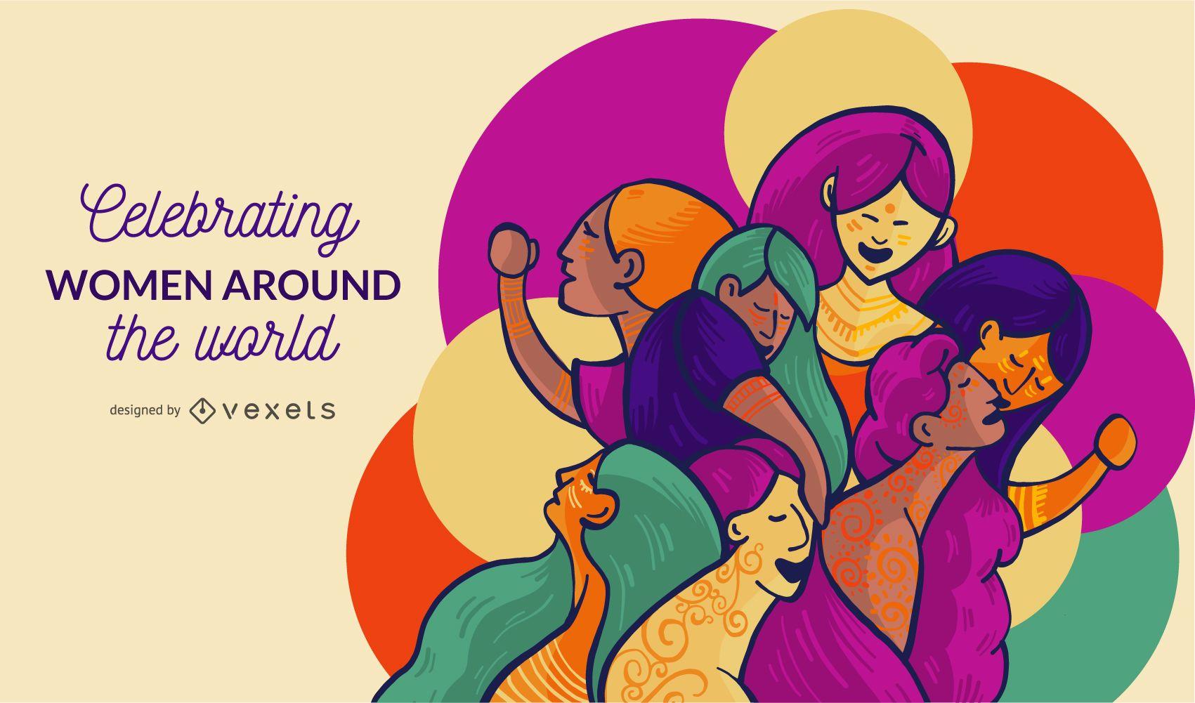 Mulheres ao redor do mundo ilustra??o