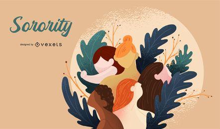 Diseño de ilustración de hermandad de mujeres