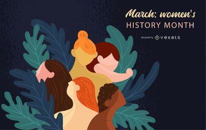 Ilustración del mes de la historia de la mujer
