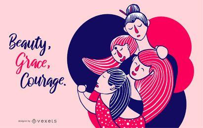 Ilustração de beleza feminina graça coragem