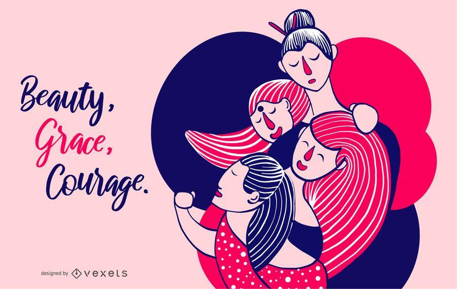 Belleza De Las Mujeres, Gracia, Ilustración De Coraje
