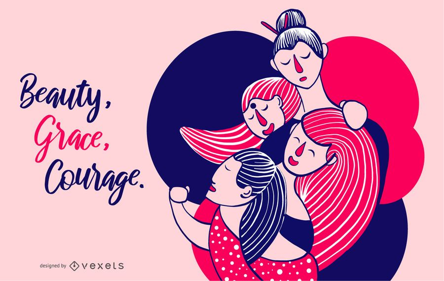 Women's Beauty, Grace, Courage Illustration