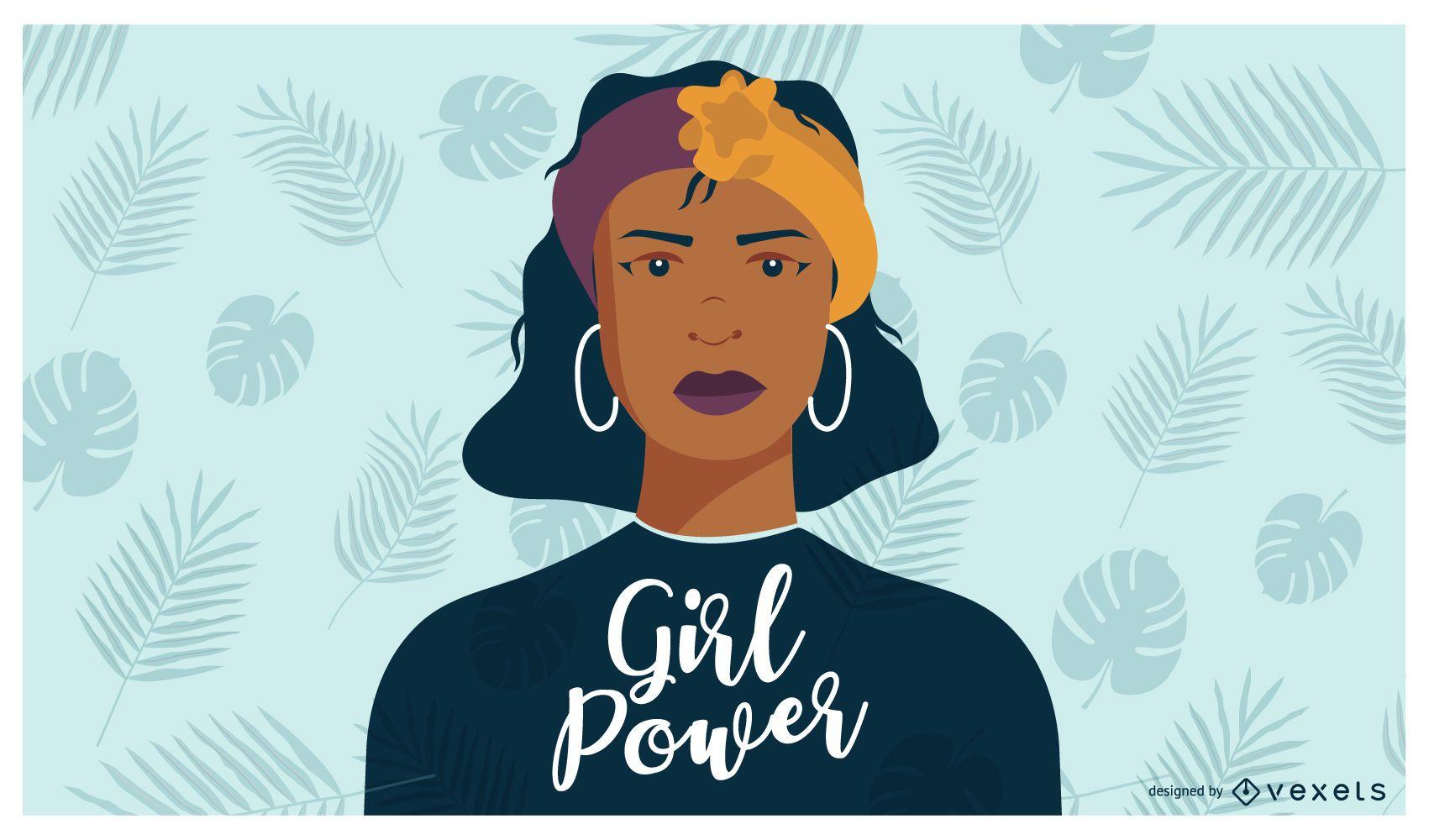Girl Power Cartoon Illustration