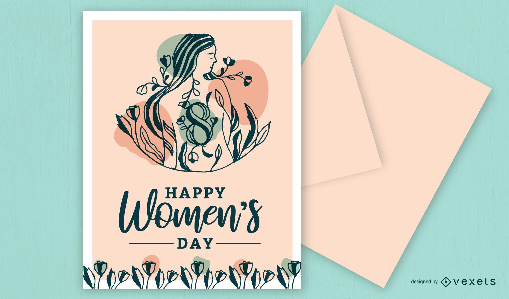Feliz Dia da Mulher Design de cart?o