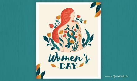 Design de cartaz de ilustração para o dia da mulher
