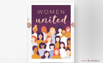 Diseño de carteles de mujeres unidas