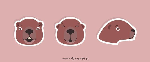 Beaver Sticker Set