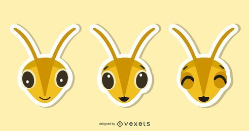 Bee Sticker Illustration Set