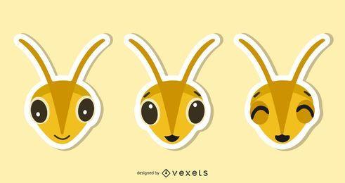 Conjunto de ilustração de adesivo de abelha