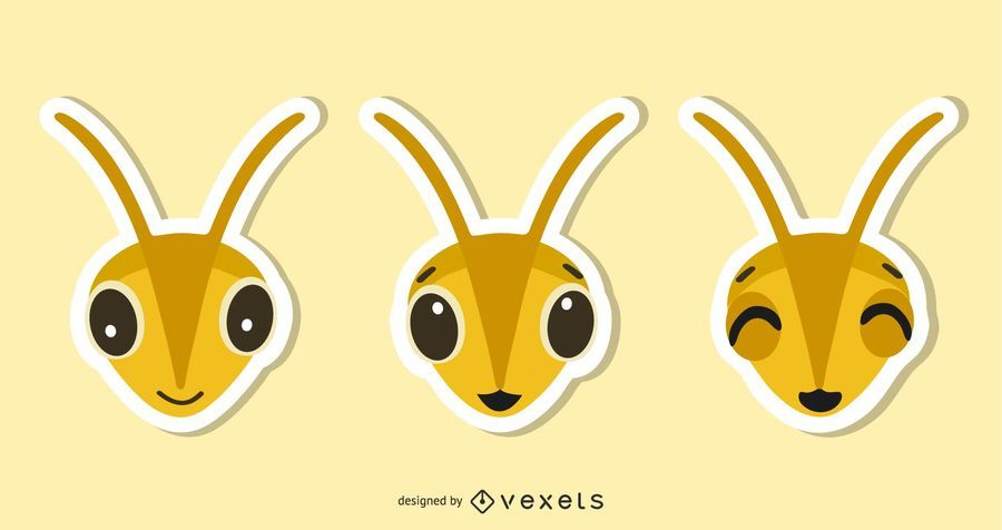 Conjunto de ilustración de etiqueta de abeja