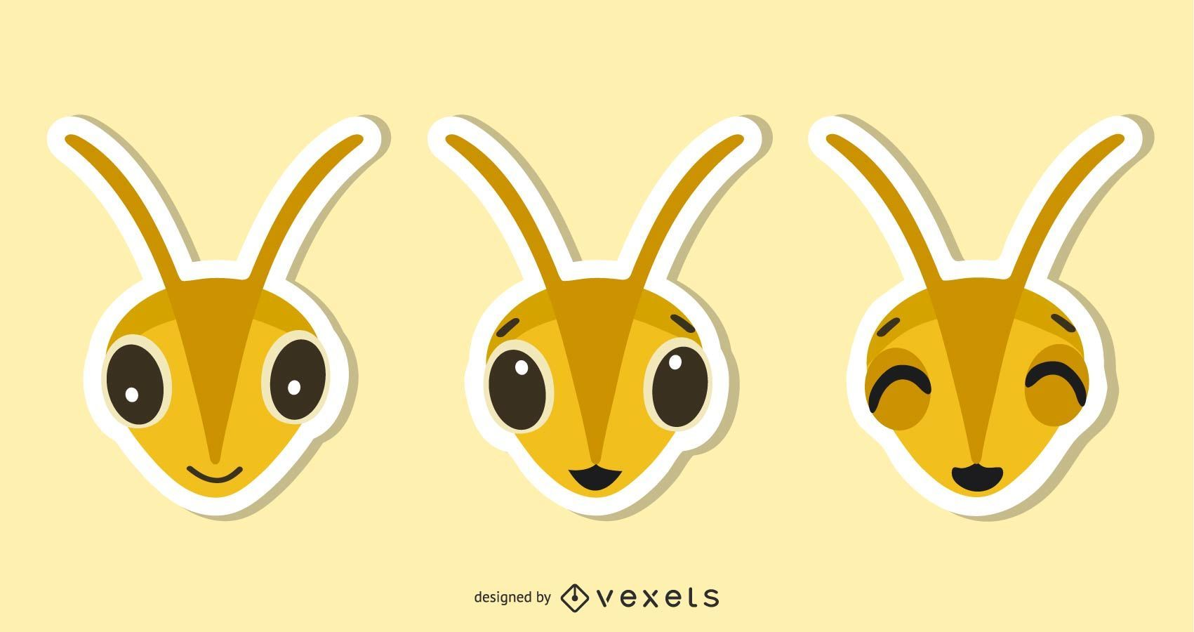 Bee Sticker Illustration Set