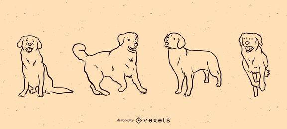 Conjunto de líneas de perro