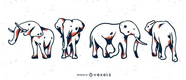 Conjunto de duotone elefante
