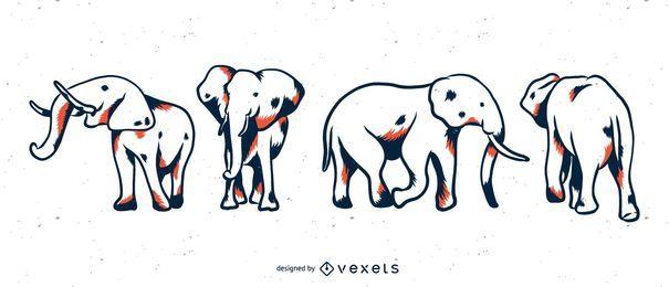 Conjunto elefante duotônico