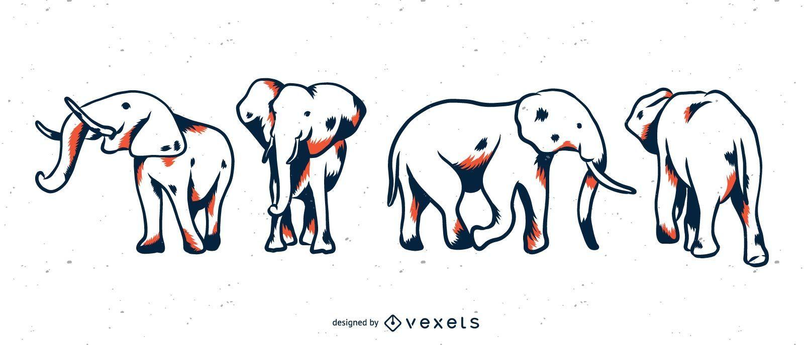 Conjunto elefante duotono