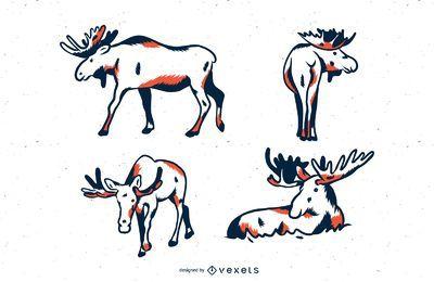 Conjunto de ilustración de duotono de alces