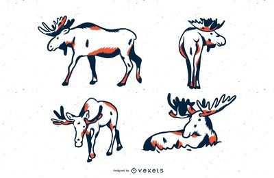Moose duotone illustration set