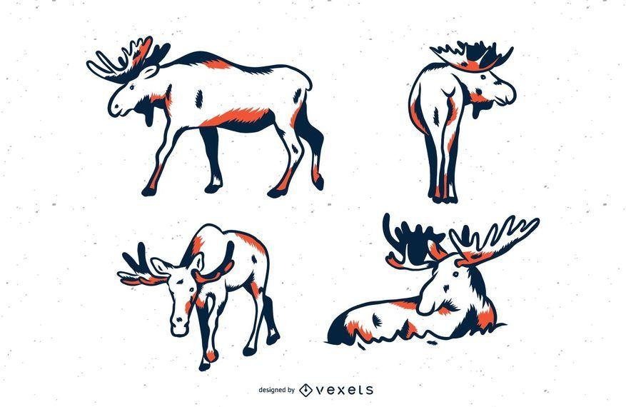 Moose duotone illustration set