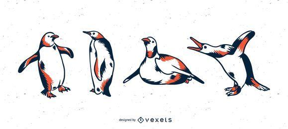 Conjunto de ilustração duotônico de pinguim