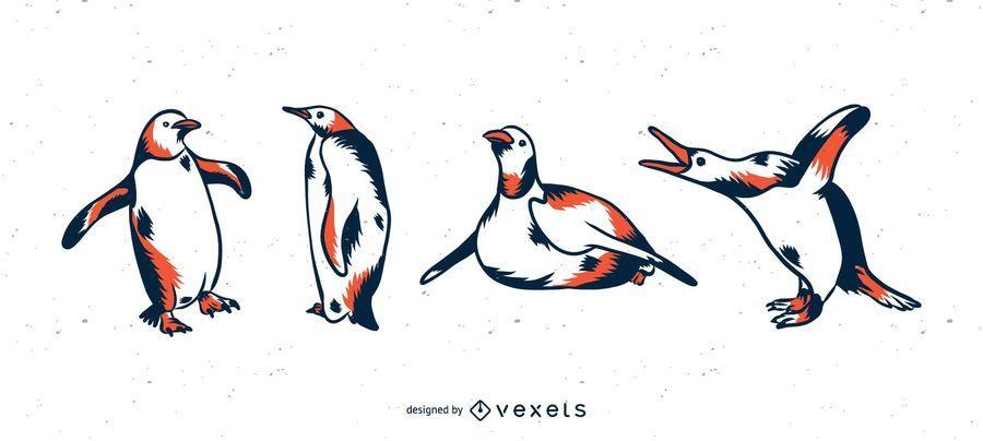 Pingüino duotono ilustración conjunto