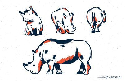 Conjunto de ilustração duotone de rinoceronte