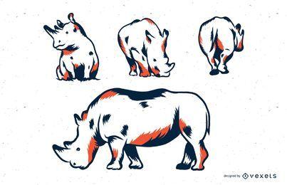 Conjunto de ilustración de duotono de rinoceronte