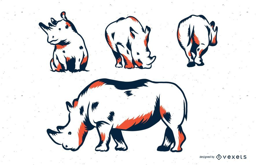 Rhino duotone illustration set