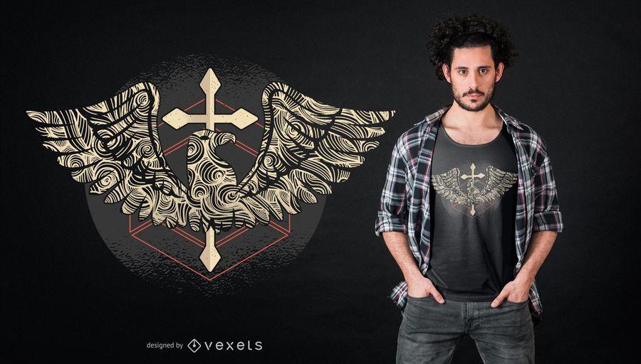 Diseño de camiseta cruzada de águila